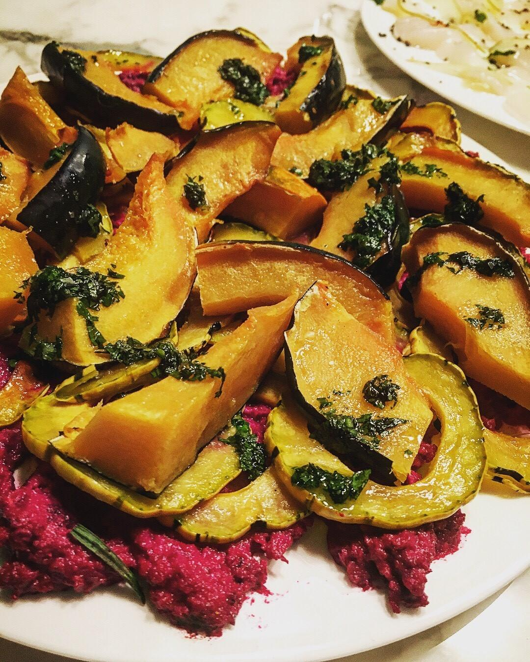 Roasted Acorn Squash with Beet Muhammara